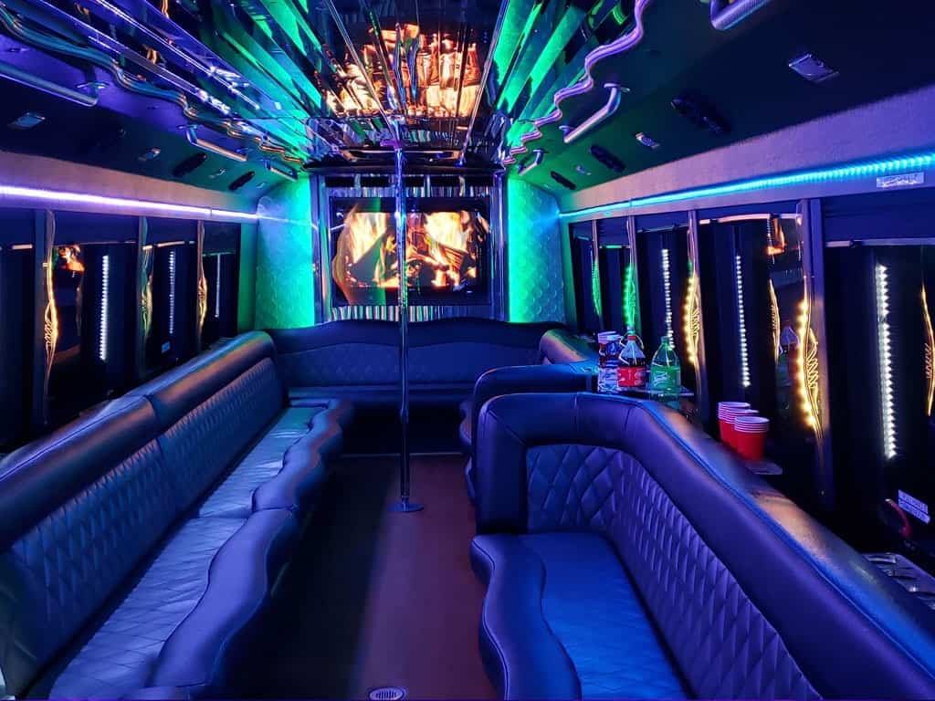 party bus limousine service tampa by l3limo – 32 guests party bus